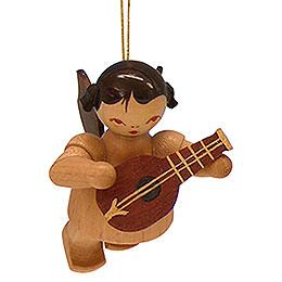 Tree ornament Angel with mandolin  -  natural colors  -  floating  -  5,5cm / 2,1 inch