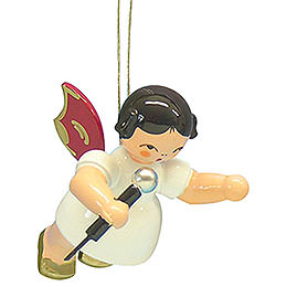 Tree ornament Angel with microphone  -  Red Wings  -  floating  -  5,5cm / 2,1 inch