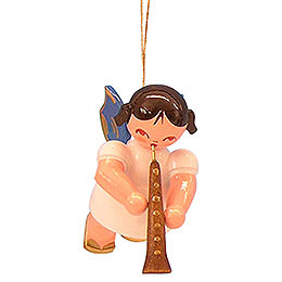 Tree ornament Angel with oboe  -  Blue Wings  -  floating  -  5,5cm / 2,1 inch