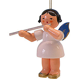 Tree ornament  -  Angel with transverse flute  -  blue wings  -  floating  -  9,5cm / 3.7inch