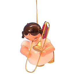 Tree ornament Angel with trombone  -  Red Wings  -  floating  -  5,5cm / 2,1 inch