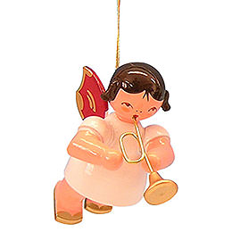 Tree ornament Angel with trumpet  -  Red Wings  -  floating  -  5,5cm / 2,1 inch
