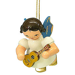 Tree ornament Angel with ukulele  -  Blue Wings  -  floating  -  5,5cm / 2,1 inch