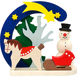 Tree ornament Arch and snowman with horse  -  7cm / 2.8inch