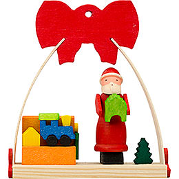 Tree ornament Bow Santa Claus with toy box  -  7cm / 2.8inch