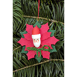 Tree ornament Christmas star with Santa Claus  -  6,5 x 6,5cm / 2.5 x 2.5inch