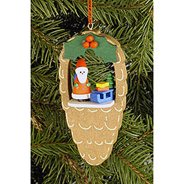 Tree ornament Cone with Santa Claus  -  4,4 x 8,8cm / 1.7 x 3.5inch