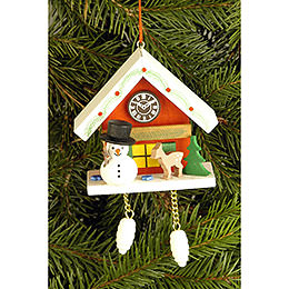 Tree ornament Cuckoo Clock red with Snowman  -  6,7 x 6,3cm / 2.6 x 2.5inch