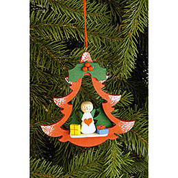 Tree ornament Fir Tree with Angel  -  8,5 x 8,7cm / 3.3 x 3.4inch
