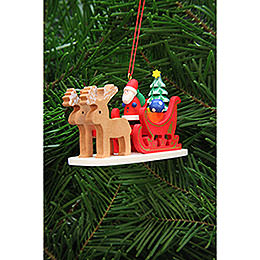 Tree ornament Santa Claus in reindeer sleigh  -  9,7cm / 3.8inch
