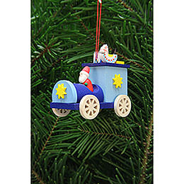 Tree ornament Santa Claus in truck  -  7,2cm / 2.8inch