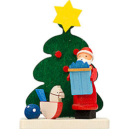 Tree ornament Santa Claus tree with rocking horse  -  6cm / 2.4inch