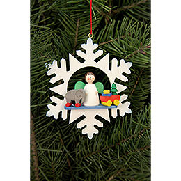 Tree ornament  -  Snowflake Angel with Toys  -  9,0 x 9,0cm / 3.5x3.5 inch