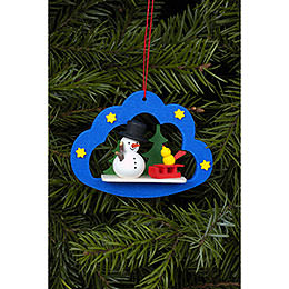 Tree ornament Snowman in Angel cloud  -  7,5 x 5,7cm / 3 x 2 inch