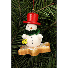 Tree ornament  -  Snowman  on Ginger Bread star  -  5,2 x 5,6cm / 2x2 inch