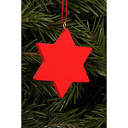 Tree ornament Star red  -  4,4 x 4,4cm / 2 x 2 inch