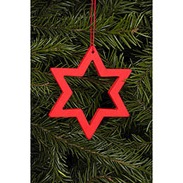 Tree ornament Star red  -  7,8 / 6,2cm  -  3 x 2 inch