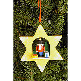 Tree ornament Star with Nutcracker  -  9,5 x 9,5cm / 3.7 x 3.7inch