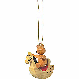 "Tree ornament ""Teddy on rocking horse""  -  5cm / 2inch"