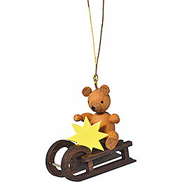 "Tree ornament ""Teddy on sleigh""  -  4cm / 1.6inch"