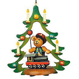 Tree ornament Teddy railway 9cm / 3,5inch