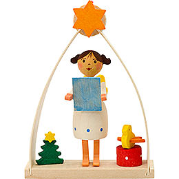 Tree ornament angel in arch singing  -  8cm / 3.1inch