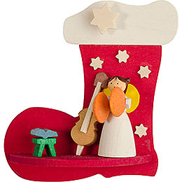Tree ornament boot - angel with instrument  -  7cm / 2.8inch