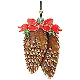 Tree ornament fir cone with bow  -  10cm / 3,9inch
