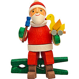 Tree ornament gnome with duck, with clip  -  6cm / 2.4inch