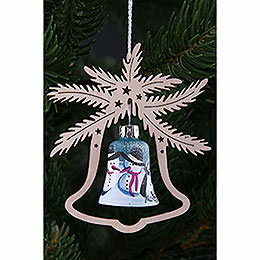 Tree ornament  -  hand painted glass bell snow man, set of three  -  9x8cm / 3.5x3.inch