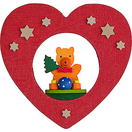 Tree ornament heart with teddy  -  7cm / 2.8inch