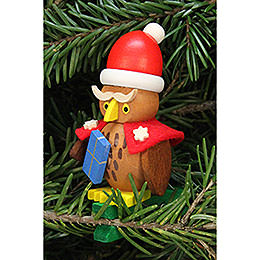Tree ornament owl Santa Claus on clip  -  4,8x7,3cm / 1.9x2.9inch