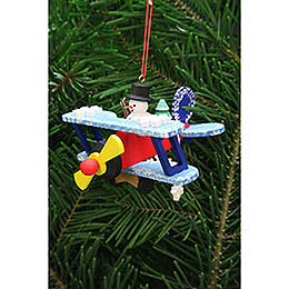 Tree ornament snowman in plane  -  9,6cm / 3.8inch