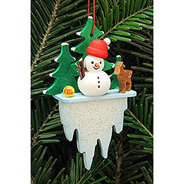 Tree ornament snowman on icicle  -  5,5x8,8cm / 2.2x3.4inch