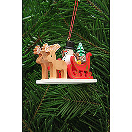 Tree ornament snowman with reindeer sleigh  -  9,7cm / 3.8inch