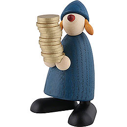 Well - wisher Goldmarie with money, blue  -  9cm / 3.5inch
