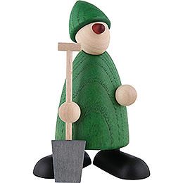 Well - wisher Hans with spade, green  -  9cm / 3.5inch