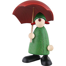 Well - wisher Louise with umbrella, green  -  9cm / 3.5inch