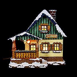 Winterhaus Forsthaus beleuchtet  -  15cm