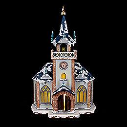 Winterhaus Kirche beleuchtet  -  31cm