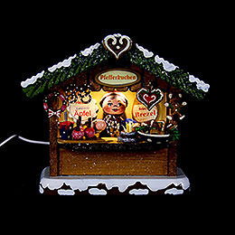 Winterkinder Marktbude Pfefferkuchenhäusel  -  10cm