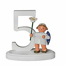 """Zahl """"5"""" mit Engel  -  7cm"""